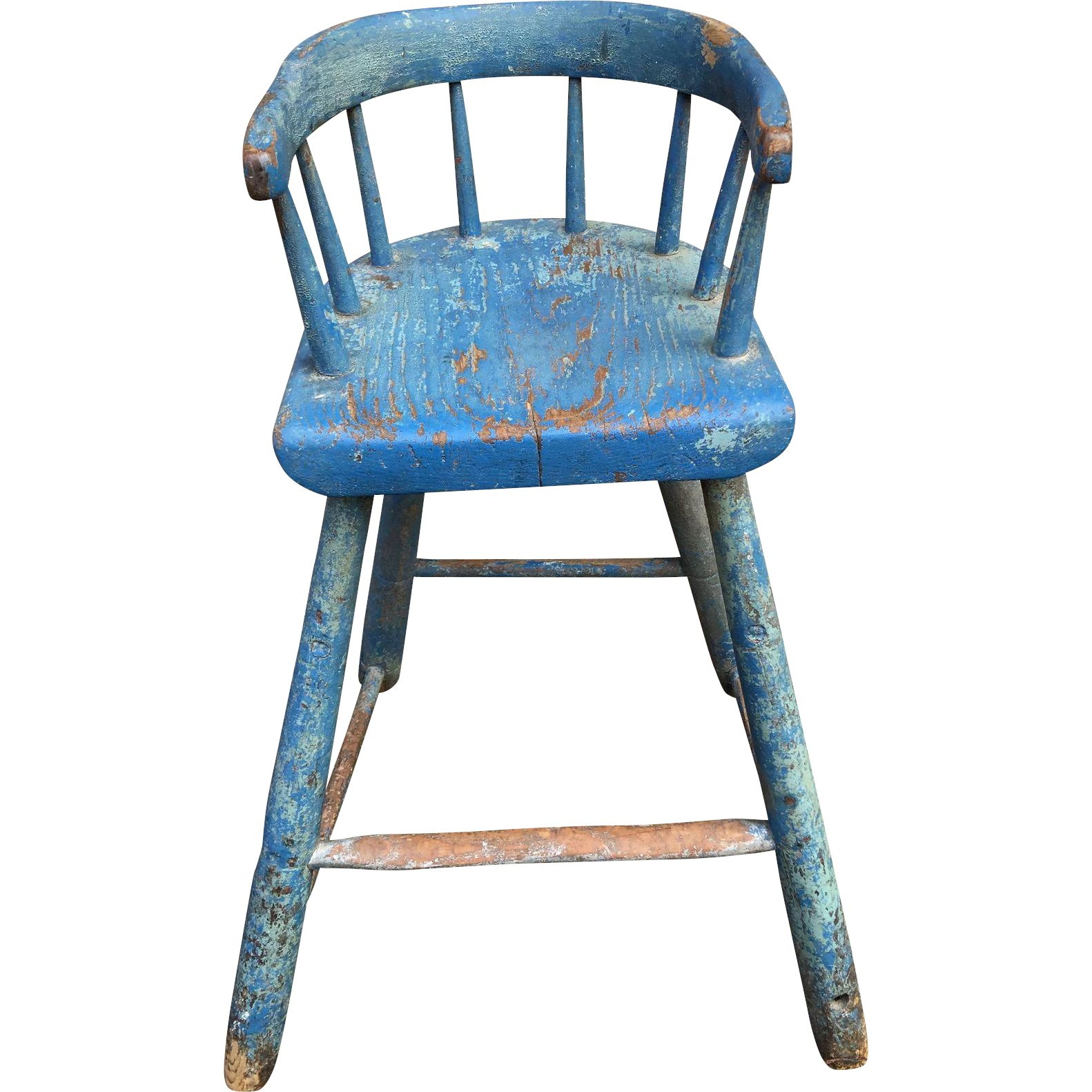 Windsor Youth Chair With Blue Paint : Eric T. Shephard American Antiques,  LLC | Ruby Lane