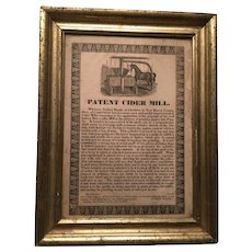 Patent Cider Mill Broadside