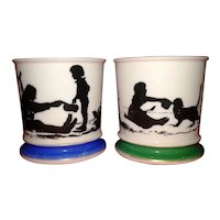Antique Porcelain Mugs Featuring Children's Silhouettes c.1910 (Pair)
