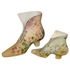 Pair Limoges Porcelain Victorian Decorative Tall Lace Up Shoes