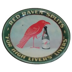 Red Raven Splits Aperient Waters Tip Tray - Circa Early 1900s