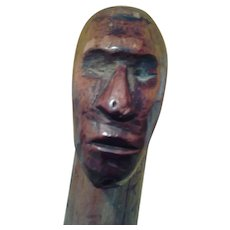 Folk Art Hand Carved Walking Stick c. 1900 Southern USA