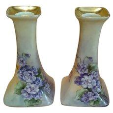 PL Limoge Porcelain Candlesticks