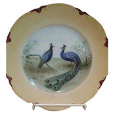 "Antique Limoges 9.5"" Peacock Motif Serving Plate"