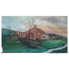 """Irish Countryside"" Watercolor 15.5 x 6"