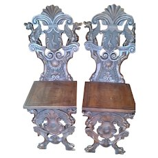 *** Pair 19th Century Renaissance Rival Chairs (Heavy Carving) c.1880 ***
