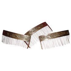 Sterling Silver Antique Chinese / Tibetan Hair Combs (set of 4) **LOVELY**
