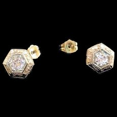 Antique 14K  Solid Yellow Gold Hexagon Shaped Stud Earring With Diamond  Stones!!!!