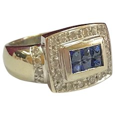 Vintage 14K Heavy White Gold Diamond And Blue Sapphire Ring