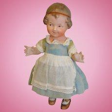 Antique German Bisque Gebruder Heubach #1049913 All Bisque Doll 8.5 inches  c 1910 Wonderful Molding