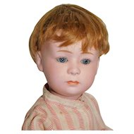 Antique 14 inch Heubach 6969 4 Pouty German Bisque Closed Mouth Blue Eyes c. 1900