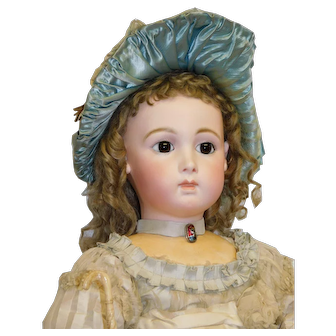 "Antique French Bisque CM Long Face Triste Bebe Jumeau ""13"", brown pw eyes, pierced applied ears, 28.5 inches c.1890"