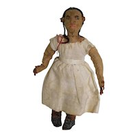 Amazingly Detailed Antique 1900? South American Rolled Cloth Doll 3.5 inch