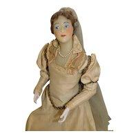 Antique Poured Wax Renaissance Lady 15 inch