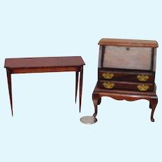 1930 – 40's Lynnfield Miniature 1/12 scale Desk & Side Table