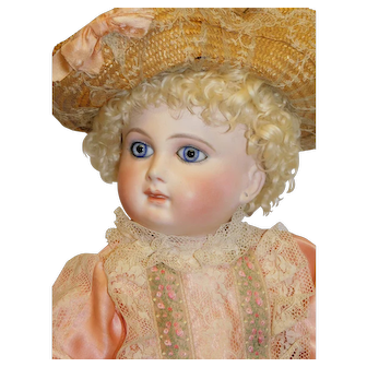 Antique French Bisque Schmitt 17.5 inches Closed Mouth w/ blue eyes c 1880's
