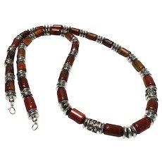 JFTS Men's Brown Carved Jasper & Hematite Necklace