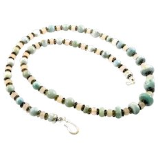 JFTS Natural Larimar, Rose & Smoky Quartz Necklace