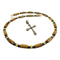 JFTS Men's Picture Jasper, Bone & Hematite Necklace W/Cross Pendant