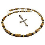 JFTS Men's Picture Jasper, Bone & Hematite Necklace W/Cross Pendant