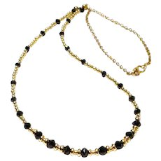 JFTS Solid 14 Kt Yellow Gold & 14 Kt Gold Filled Black Diamonds Necklace