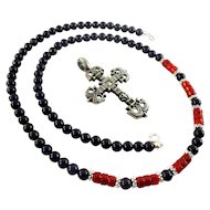 JFTS Men's Lapis Lazuli & Red Coral Necklace W/Pendant