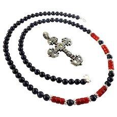 JFTS Men's Lapis Lazuli & Red Coral Necklace W/Pendant