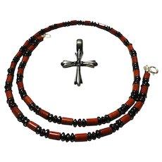 JFTS Men's Red Jasper, Garnet, & Hematite Necklace W/Pendant - Red Tag Sale Item