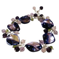 JFTS Purple Baroque Mother Of Pearl & Multi Gemstones Bracelet