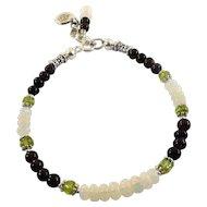 JFTS Natural Smoky Quartz, Peridot and White Ethiopian Opal Bracelet