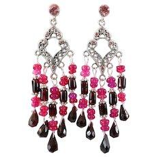 JFTS Garnet & Ethiopian Pink Opal Chandelier Earrings (DRASTIC REDUCTION)