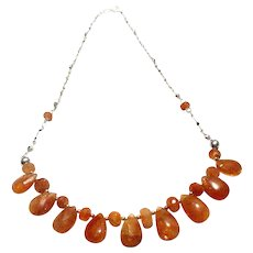 JFTS Sunstone Necklace 925 Sterling Silver