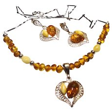 JFTS Honey & Royal White Amber Necklace Earrings Set