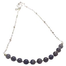 JFTS Blue Violet Tanzanite Bead Necklace 925 Sterling Silver Chain, 19 Inches
