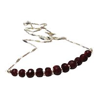 JFTS 925 Sterling Silver Natural Ruby Necklace