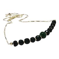 JFTS 925 Sterling Silver Natural Emerald Necklace
