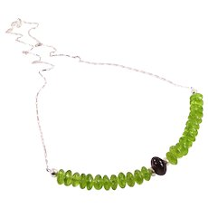 JFTS Peridot and Garnet 925 Sterling Silver Necklace