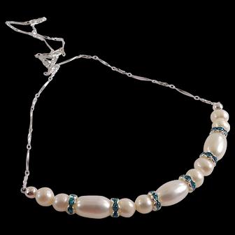 JFTS' Cultured Freshwater Pearls & Swarovski Crystal Necklace