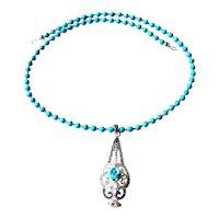 JFTS Natural Arizona Turquoise Necklace W/Turquoise, Marcasite & White Topaz Pendant