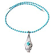JFTS Natural Arizona Turquoise Necklace W/Turquoise, Marcasite & White Topaz Pendant