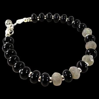 JFTS' Black Onyx & Labradorite Silver Plated Bracelet