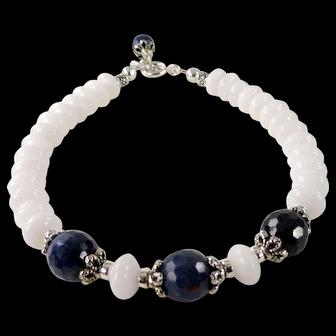 JFTS' White Jasper & Blue Sapphire Bracelet