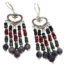 JFTS Natural Sapphire, Ruby & Emerald Chandelier Earrings