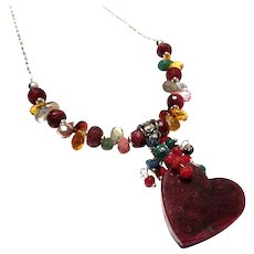 JFTS Natural Ruby & Multi-Gemstone Necklace