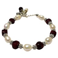 JFTS Cultured Freshwater Pearls & Ruby Bracelet