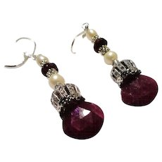JFTS Ruby & Cultured Freshwater Pearl Earrings