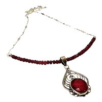 JFTS 925 Sterling Silver Ruby Necklace W/Ruby Pendant