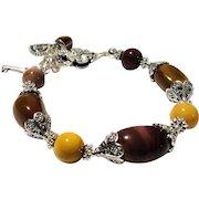 JFTS Tibetan Silver Mookaite Chunky Bracelet
