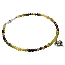 JFTS' Mookaite, Peridot, Citrine & Gold Crystal Anklet