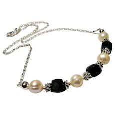 JFTS' Emerald & Cultured FW Pearl Necklace, Bracelet &  Earrings Set